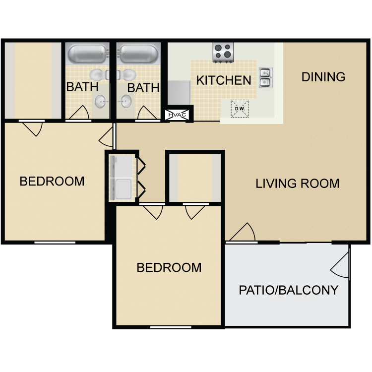 1,010 sq. ft. B1 floor plan