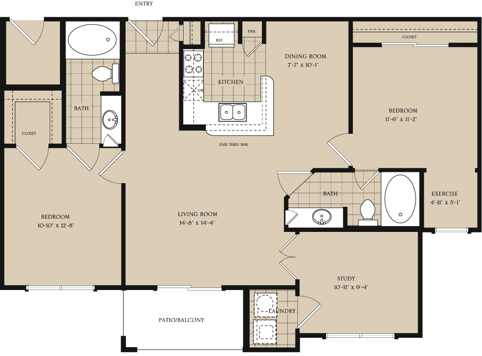 1,126 sq. ft. B2 floor plan