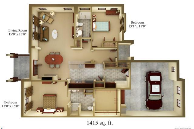 1,415 sq. ft. Cottage floor plan