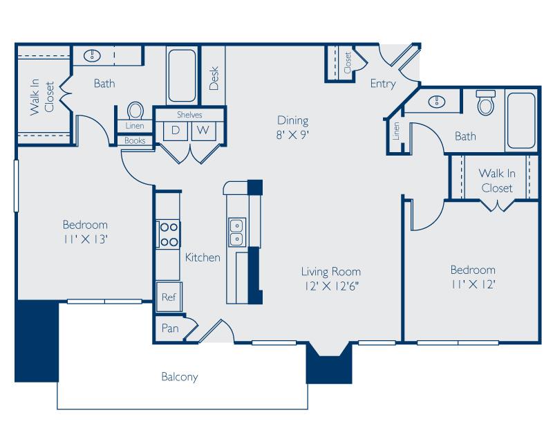 1,090 sq. ft. Austin floor plan