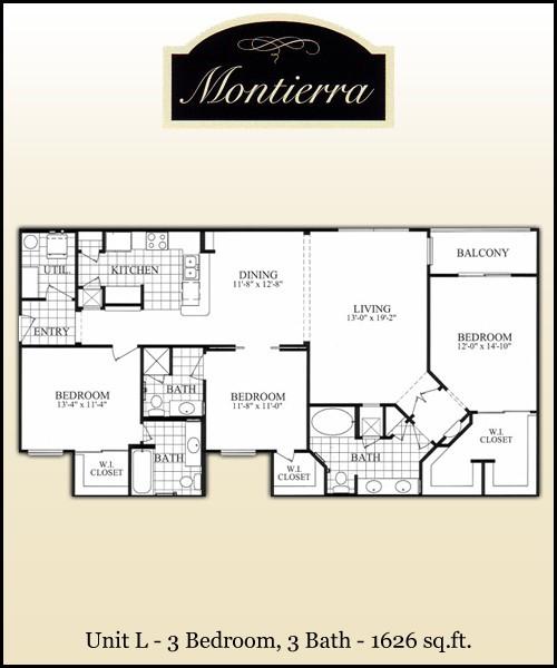1,626 sq. ft. L floor plan