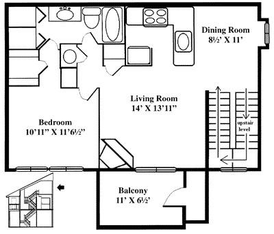 1,063 sq. ft. A5 floor plan