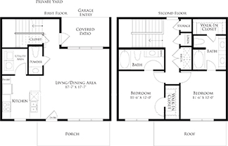 1,277 sq. ft. 6THB2DGG floor plan