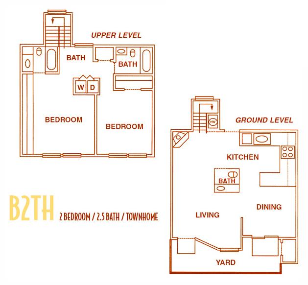 1,150 sq. ft. B2TH - B2THU floor plan