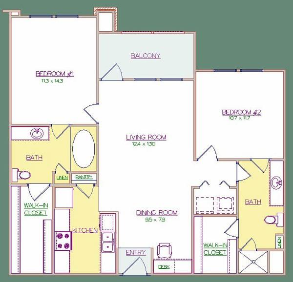 990 sq. ft. 60% floor plan