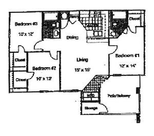 1,250 sq. ft. Gardenia/60 floor plan