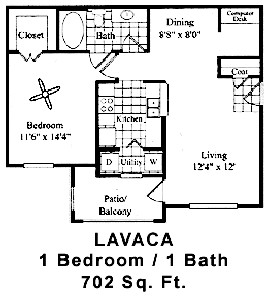 702 sq. ft. LAVACA floor plan