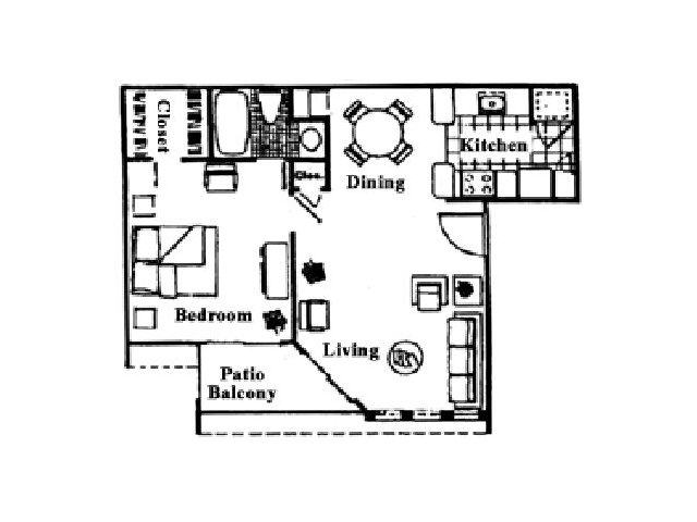 594 sq. ft. A floor plan