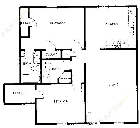 880 sq. ft. B3 floor plan