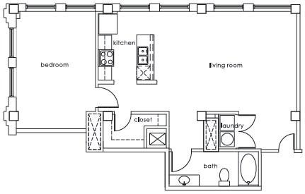 964 sq. ft. GS Plan N floor plan