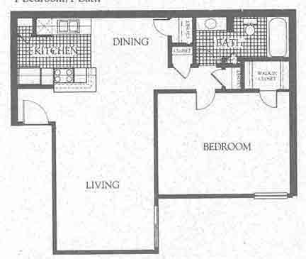 770 sq. ft. A1 floor plan