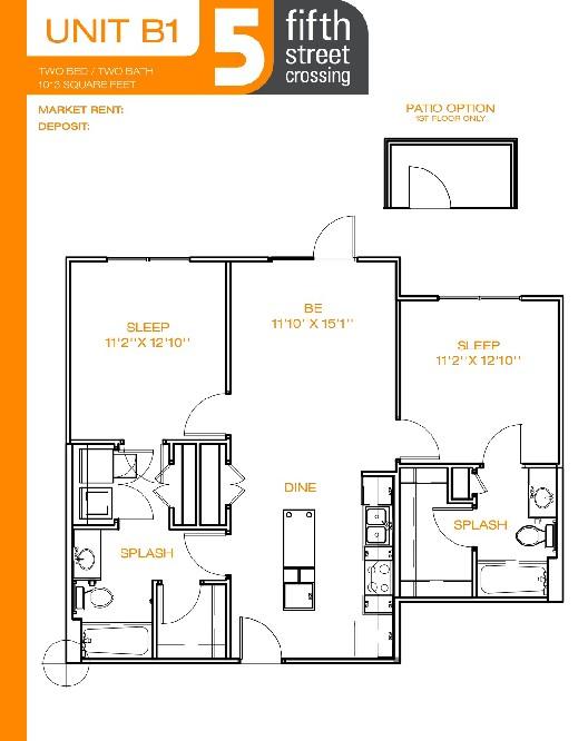 1,013 sq. ft. B1 floor plan