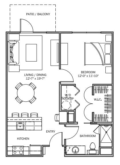 713 sq. ft. Primrose A 30% floor plan