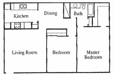 1,050 sq. ft. A floor plan