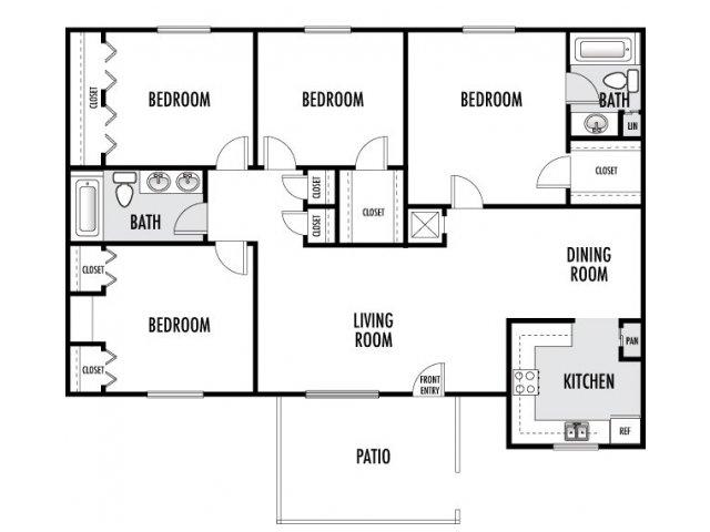 1,333 sq. ft. floor plan