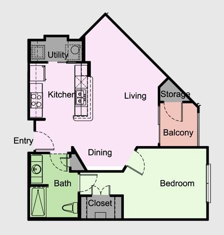 733 sq. ft. Sheffield/A3 floor plan