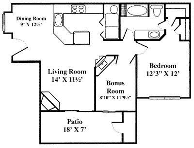 904 sq. ft. A4 floor plan