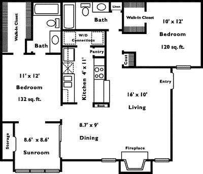 1,038 sq. ft. 2D floor plan