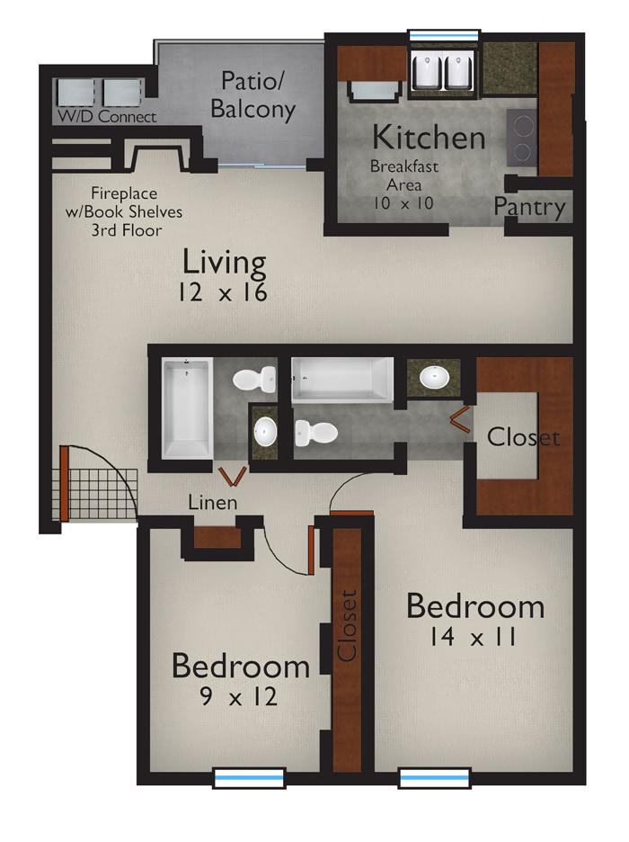 1,048 sq. ft. B floor plan