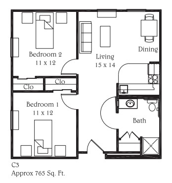 765 sq. ft. C3 floor plan