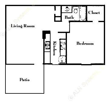 574 sq. ft. A5 floor plan
