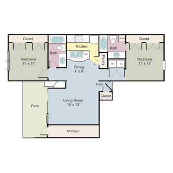 936 sq. ft. Inverness floor plan