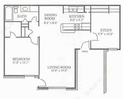 875 sq. ft. A1 floor plan