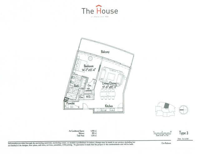 1,056 sq. ft. 3 floor plan