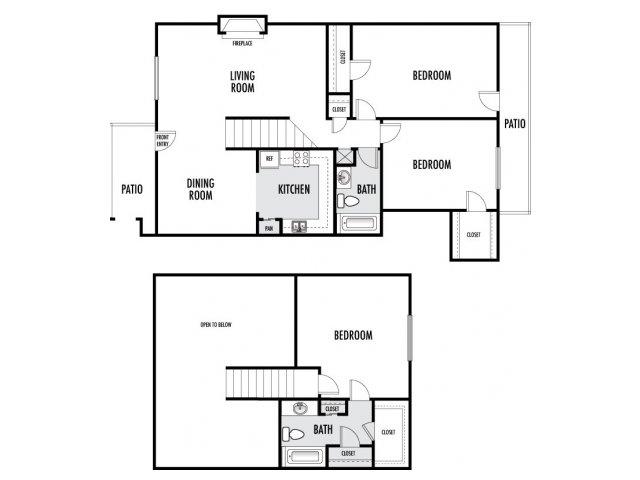 1,128 sq. ft. floor plan