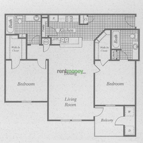 974 sq. ft. B/50 floor plan