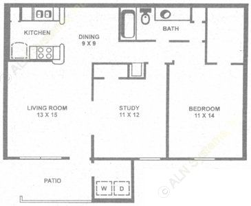 904 sq. ft. D floor plan