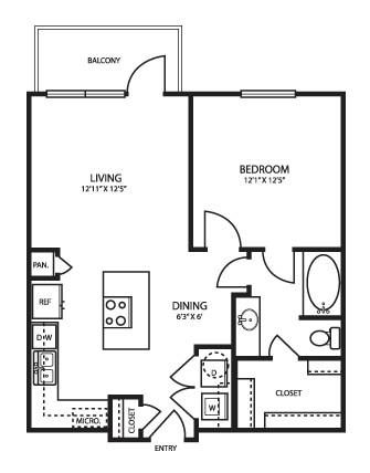 673 sq. ft. A1 floor plan