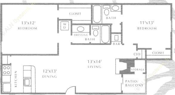 968 sq. ft. B3 floor plan