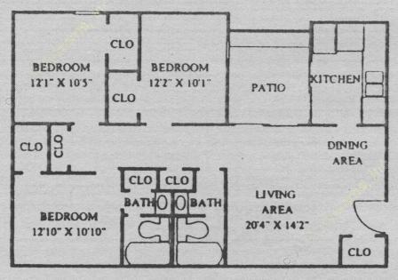 1,053 sq. ft. C2 floor plan