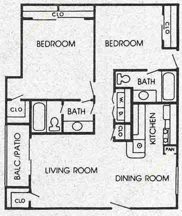 975 sq. ft. K floor plan