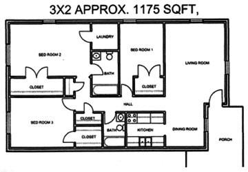 1,175 sq. ft. floor plan