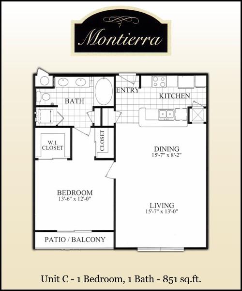 851 sq. ft. C floor plan