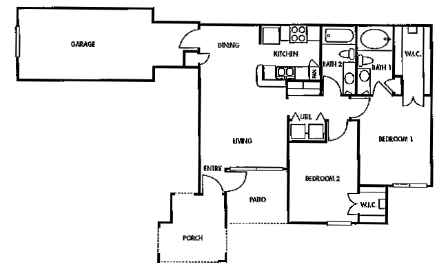 953 sq. ft. C1 floor plan