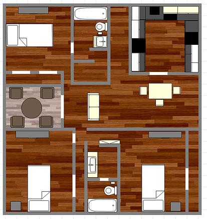 1,012 sq. ft. B1 floor plan