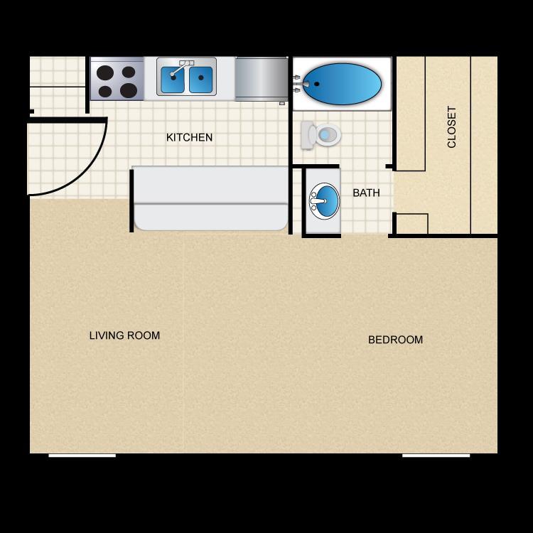 622 sq. ft. A5 floor plan