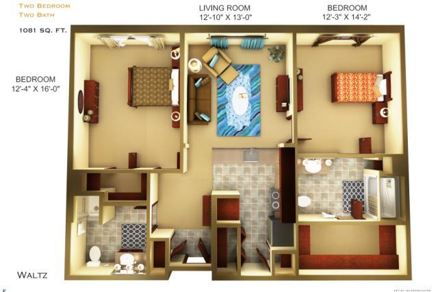 1,081 sq. ft. C2 floor plan