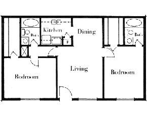 975 sq. ft. 2x2/60 floor plan