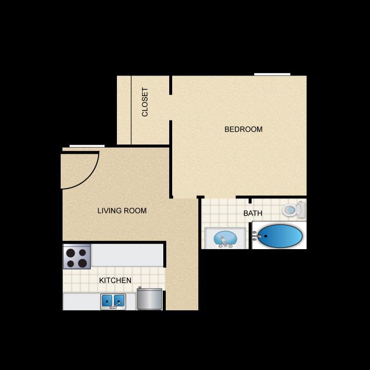 428 sq. ft. A1 floor plan