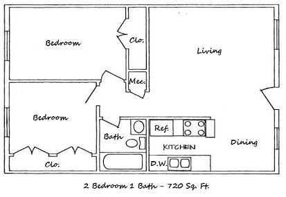 720 sq. ft. B-ABP floor plan