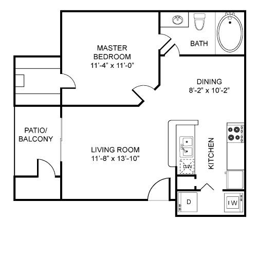 602 sq. ft. A1 floor plan