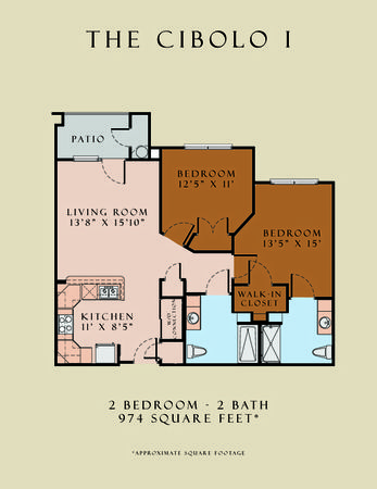 974 sq. ft. Cibolo I/60 floor plan