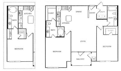 1,070 sq. ft. Imperial floor plan