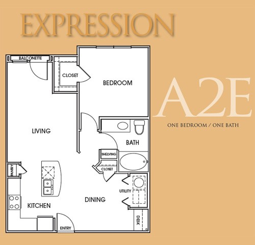 780 sq. ft. A2E floor plan
