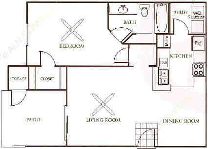 762 sq. ft. A2 floor plan