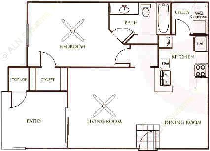 762 sq. ft. A2 floor plan